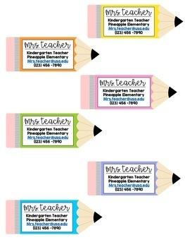 Teacher Contact Business Cards - EDITABLE Pencils