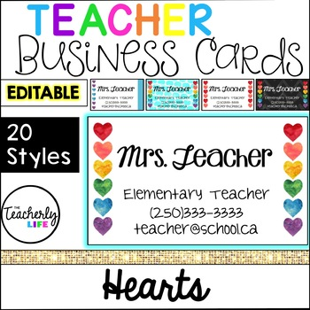 Teacher Business Cards - Hearts *EDITABLE*
