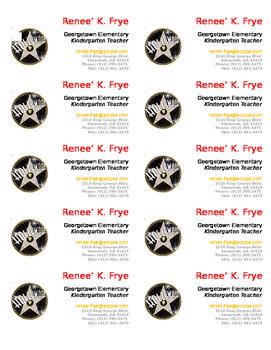 Teacher Business Cards Hollywood theme