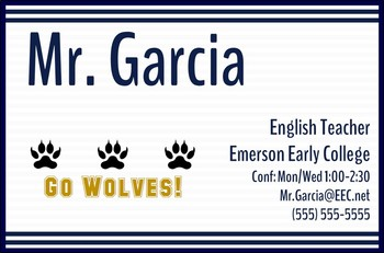 Teacher Business Cards [Navy Stripes] -- 2 Sizes for Wallets & Refrigerators