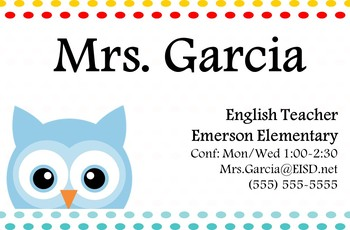 Teacher Business Cards [Owl] -- 2 Sizes for Wallets & Refrigerators
