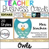 Teacher Business Cards - Owls *EDITABLE*