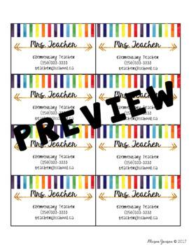 Teacher Business Cards - Golden Rainbow *EDITABLE*