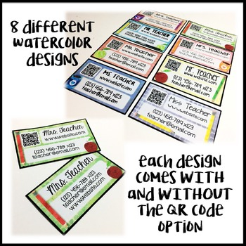 Teacher Business Cards for Back to School - Editable