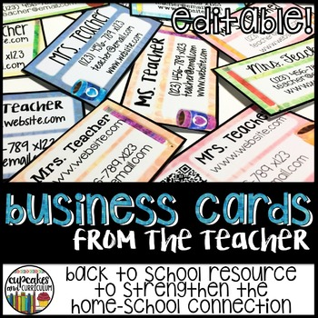 Teacher Business Cards for Back to School - Editable