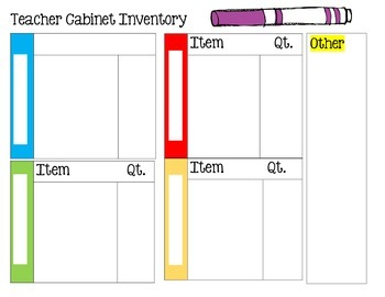 Teacher Cabinet Inventory {PDF file, non-editable, 2 pages}