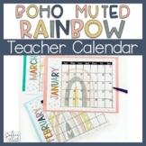 Teacher Calendar Blank Calendar Boho Rainbow