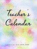 2018-2019 Teacher Calendar- Chevron Design