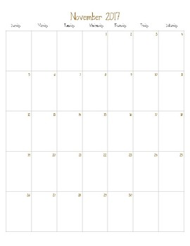 Teacher Calendar Printable (2017-2018)