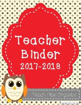 Teacher Calendar and Binder Resource - Grey and Red Polka Dots