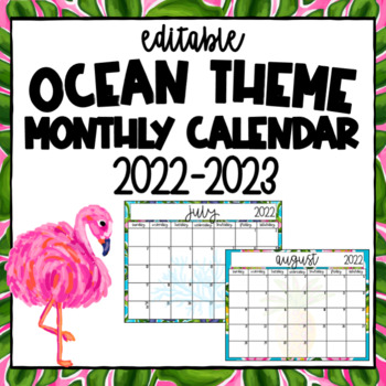 Teacher Calendar ~ Editable