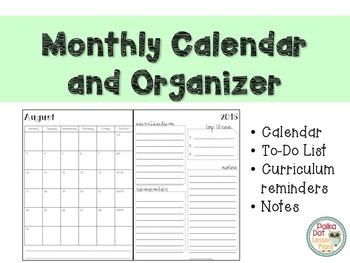 Teacher Calendar and Organizer