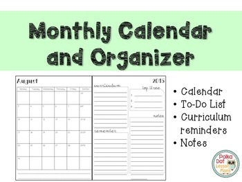 Teacher Calendar and Organizer