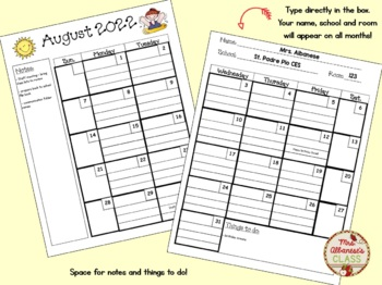 Teacher Calendar and Planner updated for 2017-2018 - EDITABLE!