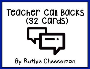 Teacher Call Backs