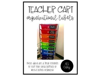 Teacher Cart Organizational Labels
