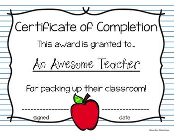 Teacher Certificates of Completion