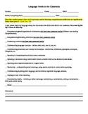 Teacher Check List - Language Needs in the Classroom