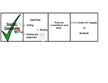 Teacher Check in- Behavior Chart