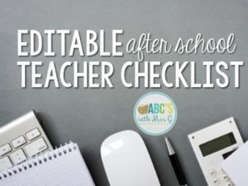 Teacher Checklist (Editable)