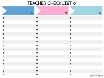 Teacher Checklists for Classroom Organization