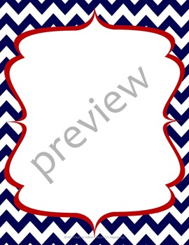 Teacher Chic Frames: Red & Navy