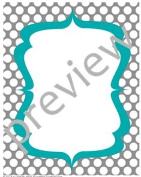 Teacher Chic Frames: Turquoise & Grey