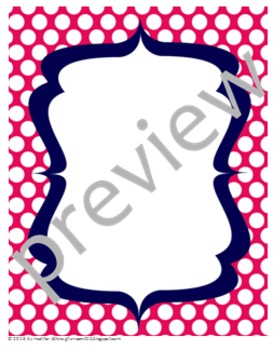 Teacher Chic Labels Bundle: Hot Pink & Navy