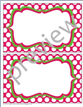 Teacher Chic Large Labels: Apple Green & Hot Pink