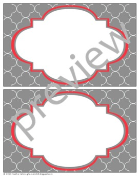 Teacher Chic Large Labels: Coral & Grey