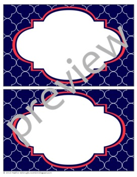Teacher Chic Large Labels: Coral & Navy
