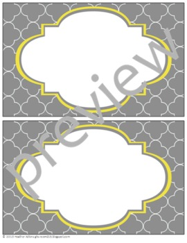 Teacher Chic Large Labels: Grey & Yellow