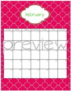 Teacher Chic SY 2015-2016 Calendar: Apple and Hot Pink