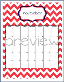 Teacher Chic SY 2015-2016 Calendar: Navy and Coral