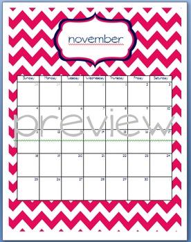 Teacher Chic SY 2015-2016 Calendar: Navy and Hot Pink