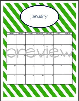 Teacher Chic SY 2015-2016 Calendar: Navy and Lime