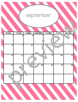 Teacher Chic SY 2015-2016 Calendar: Pink and Grey