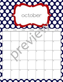 Teacher Chic SY 2015-2016 Calendar: Red & Navy
