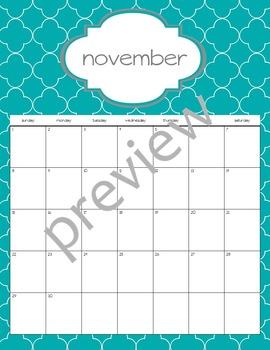 Teacher Chic SY 2015-2016 Calendar: Turquoise & Grey
