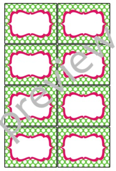 Teacher Chic Small Labels: Apple Green & Hot Pink
