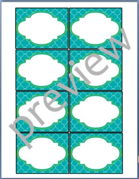 Teacher Chic Small Labels: Apple Green & Turquoise
