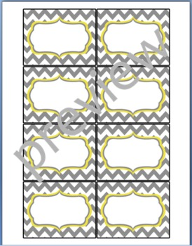 Teacher Chic Small Labels: Grey & Yellow