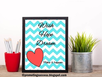 Chevron Classroom Decor Inspirational Quote Poster ~ School Counselor Office