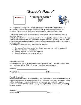 Teacher Classroom Rules and Lab Contract