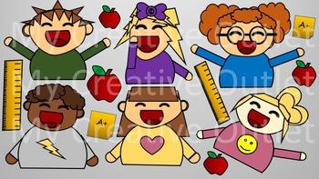 Teacher Clip Art // Student Clip Art, Students, Classroom, Editable, Simple