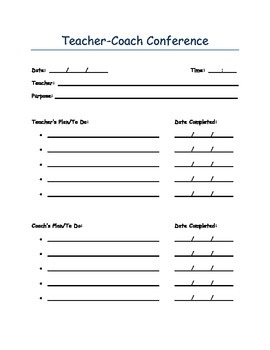 Teacher-Coach Conference Form