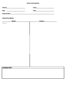 Teacher Coaching Form for Administrators and Instructional Coaches