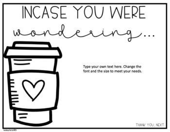 Teacher Coffee Order Sign
