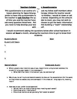 Teacher Collaboration Questionnaire