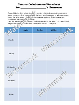 Teacher Collaboration Worksheet